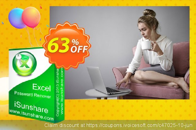iSunshare Excel Password Remover discount 63% OFF, 2019 Christmas Day deals