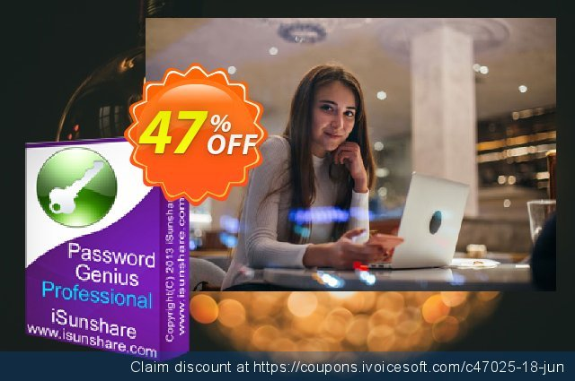 iSunshare Password Genius Professional discount 47% OFF, 2020 New Year's Day discounts
