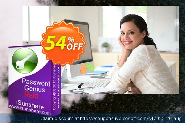 iSunshare Password Genius Raid discount 54% OFF, 2020 College Student deals promo sales