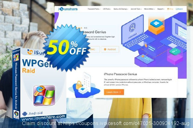 iSunshare WPGenius Raid discount 50% OFF, 2021 April Fools' Day offering sales