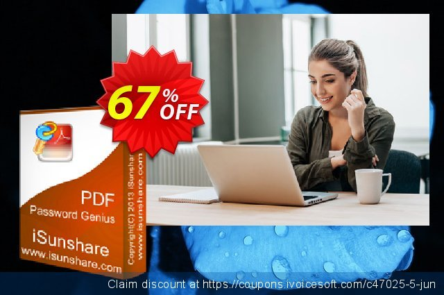 iSunshare PDF Password Genius discount 67% OFF, 2020 American Independence Day offering sales