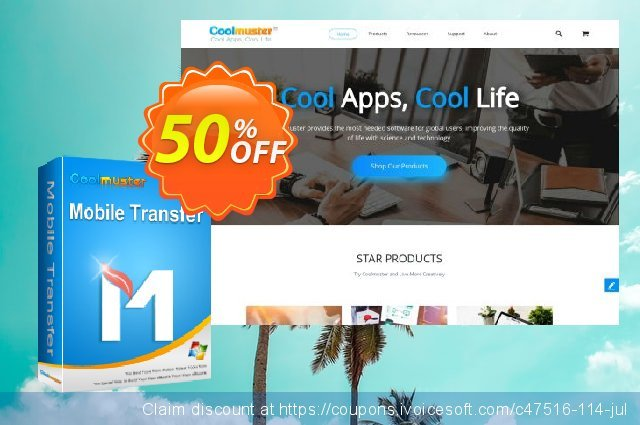 Coolmuster Mobile Transfer - Lifetime License(21-25PCs) discount 50% OFF, 2020 July 4th promo sales