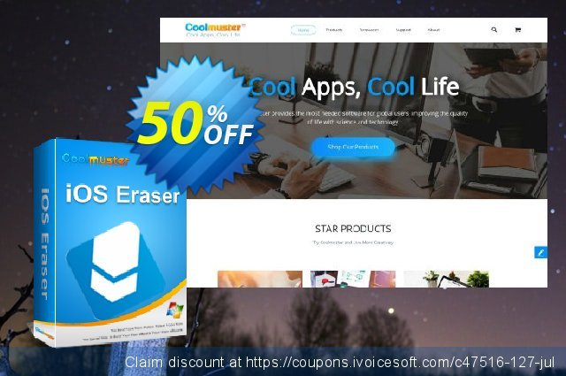 Coolmuster iOS Eraser - Lifetime (16-20PCs) discount 50% OFF, 2020 4th of July deals