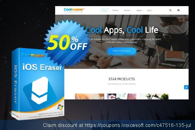 Coolmuster iOS Eraser (21-25PCs) discount 50% OFF, 2019 Student deals offering sales