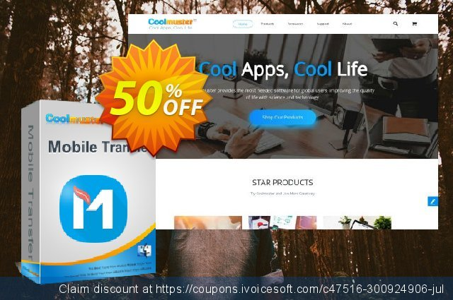 Coolmuster Mobile Transfer for Mac - 1 Year (2-5PCs) discount 50% OFF, 2021 Mother Day offering sales. affiliate discount