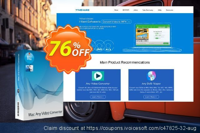 7thShare Mac Any Video Converter discount 76% OFF, 2021 New Year's Weekend discount