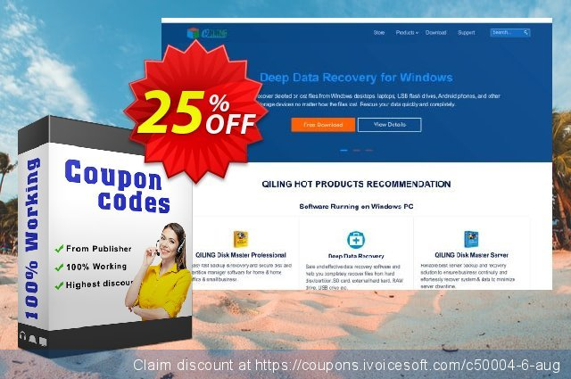 QILING Disk Master Server + Free Lifetime Upgrade discount 25% OFF, 2020 Back-to-School promotions offering sales