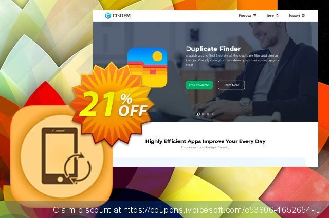 Cisdem iPhone Recovery for 2 Macs discount 21% OFF, 2020 July 4th offering discount