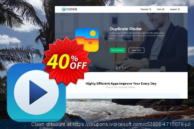 Cisdem Video Player for 2 Macs discount 22% OFF, 2020 Halloween offering sales