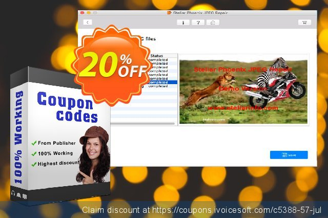 Stellar Phoenix JPEG Repair discount (Mac)神奇的产品销售 软件截图