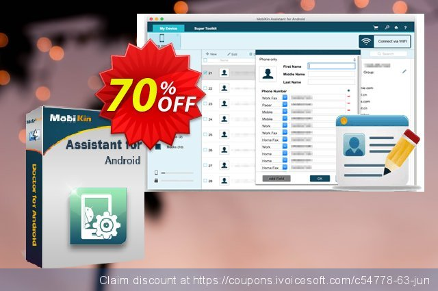MobiKin Assistant for Android  (Mac) - 1 Year, 1 PC License discount 50% OFF, 2019 Happy New Year offering sales
