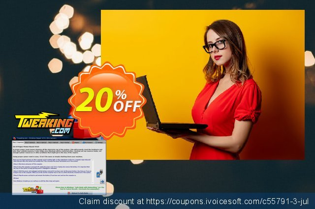 Tweaking.com Windows Repair Pro v4 (1 Additional Yearly License) discount 20% OFF, 2021 Labour Day sales