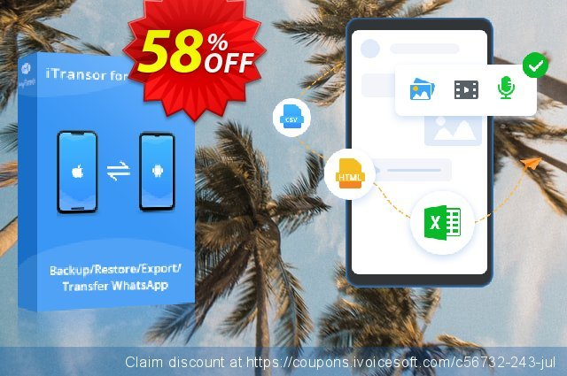 iTransor for WhatsApp (1-Month) discount 58% OFF, 2020 New Year's eve deals