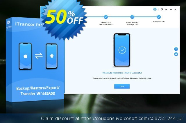 iTransor for WhatsApp (10 Devices/Lifetime) discount 50% OFF, 2020 Christmas offer