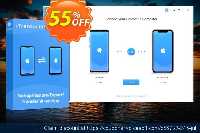 iTransor for WhatsApp (15 Devices/Lifetime) discount 55% OFF, 2020 Xmas discount