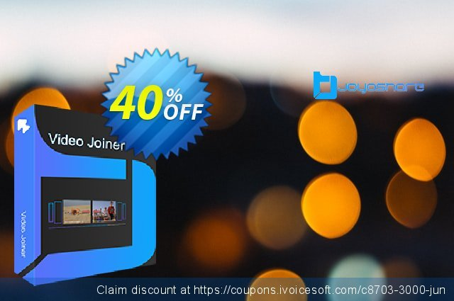 JOYOshare Video Joiner Unlimited License discount 40% OFF, 2021 Happy New Year discount