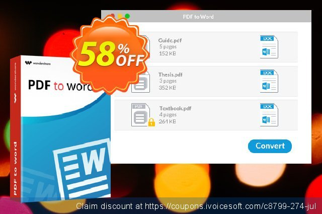 Wondershare PDF to Word Converter for Mac discount 58% OFF, 2021 Valentine Week offering sales