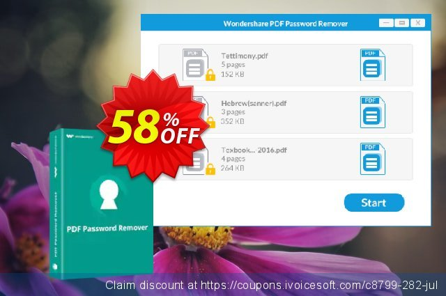 Get 58% OFF Wondershare PDF Password Remover promo