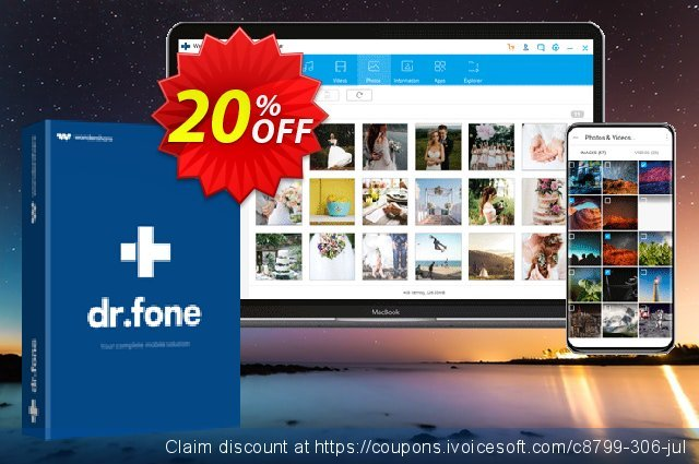 Wondershare Dr.Fone Phone Manager iOS (For Mac) discount 20% OFF, 2020 Back to School promotion offering sales