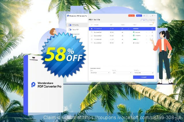 Wondershare PDF Converter PRO discount 58% OFF, 2020 Back to School promo offering sales