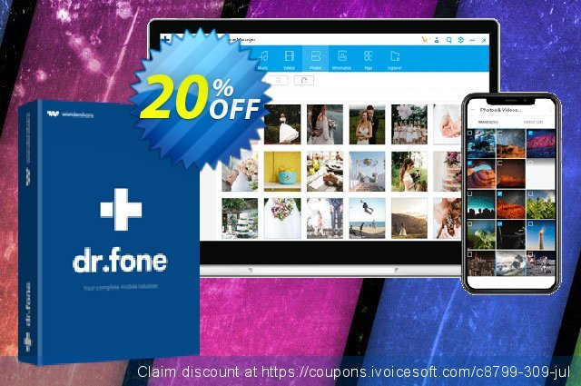 Wondershare Dr.Fone Phone Manager Android (For Mac) discount 20% OFF, 2020 Back to School event offering sales