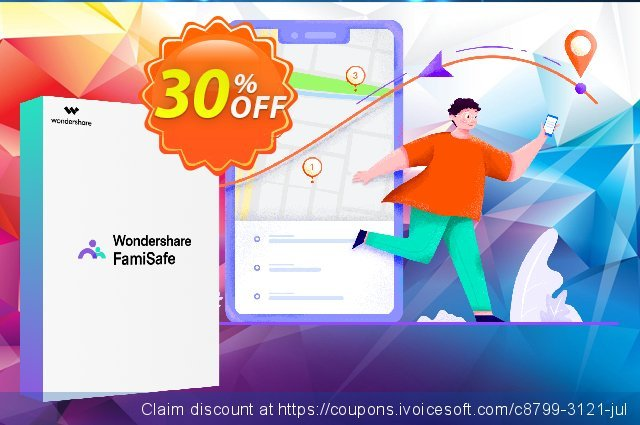 Wondershare FamiSafe (Quarterly Plan) discount 30% OFF, 2021 New Year's Weekend offering sales