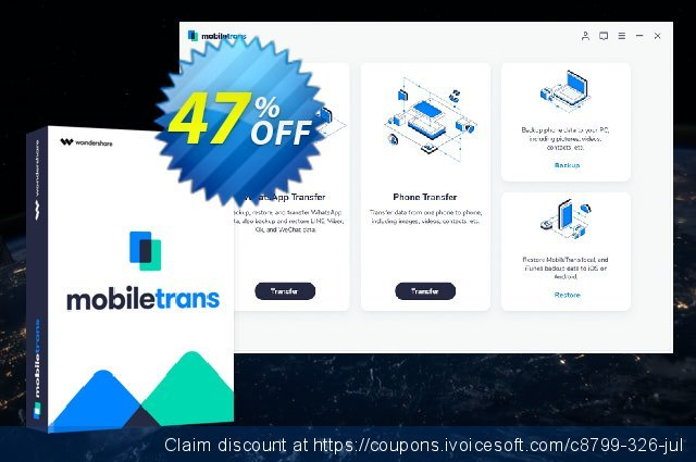 Wondershare MobileTrans discount 37% OFF, 2020 Resurrection Sunday offering sales
