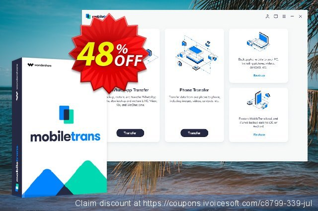 Wondershare MobileTrans (One Year) discount 46% OFF, 2020 Happy New Year deals