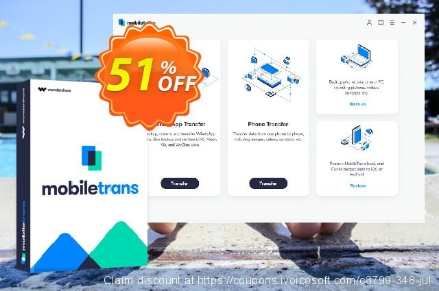 Wondershare MobileTrans for Mac One Year License discount 30% OFF, 2019 April Fools' Day offering sales