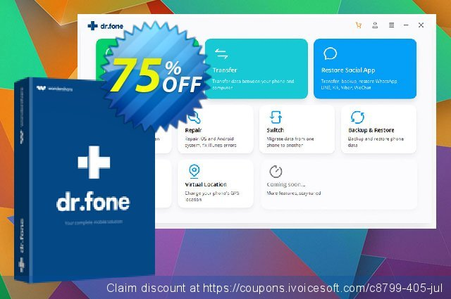 dr.fone - iOS Toolkit discount 75% OFF, 2021 World Photo Day discounts. Dr.fone all site promotion-30% off