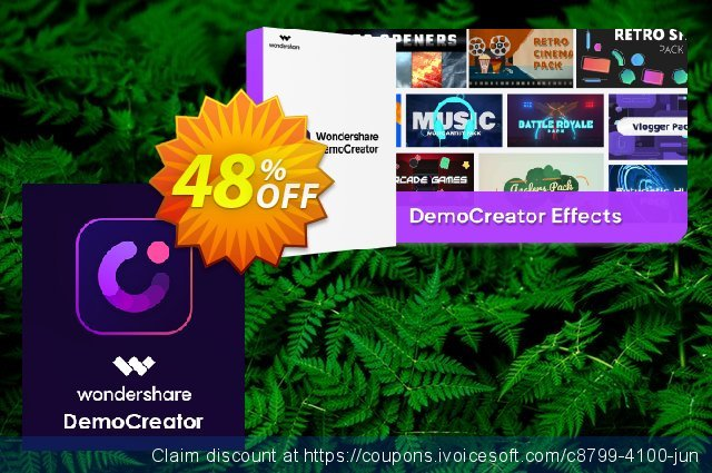 Bundle: Wondershare DemoCreator + Effects discount 48% OFF, 2021 National Savings Day offering sales. 20% OFF Wondershare DemoCreator, verified