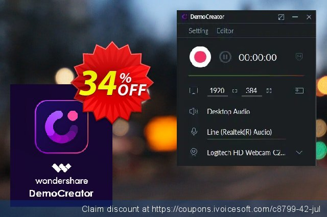 Wondershare DemoCreator Lifetime License discount 34% OFF, 2020 Exclusive Student deals offer