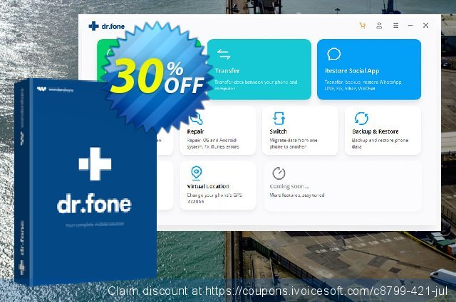 Wondershare Dr.Fone for iOS 软件截图 优惠券