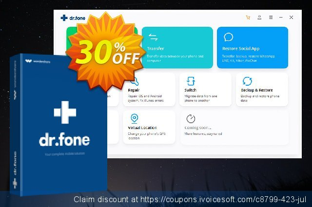 dr.fone (Mac) - Phone Transfer (iOS) discount 30% OFF, 2021 Labour Day offering sales. Dr.fone all site promotion-30% off