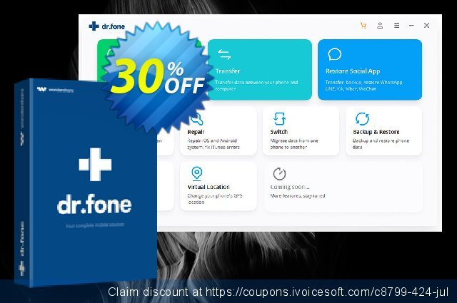 dr.fone - Backup & Restore (iOS) discount 30% OFF, 2020 April Fools' Day offering sales