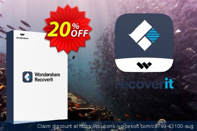 Wondershare Recoverit (1 Year License) discount 20% OFF, 2021 Coffee Ice Cream Day offer. 20% OFF Wondershare Recoverit (1 Year License), verified