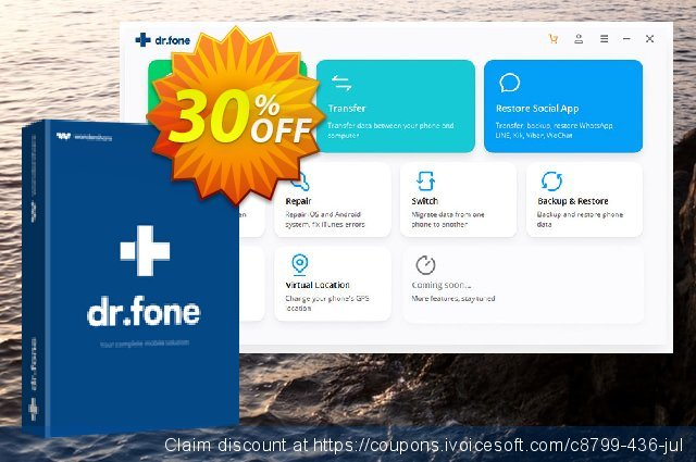 dr.fone - Restore Social App discount 30% OFF, 2021 Kiss Day offering discount