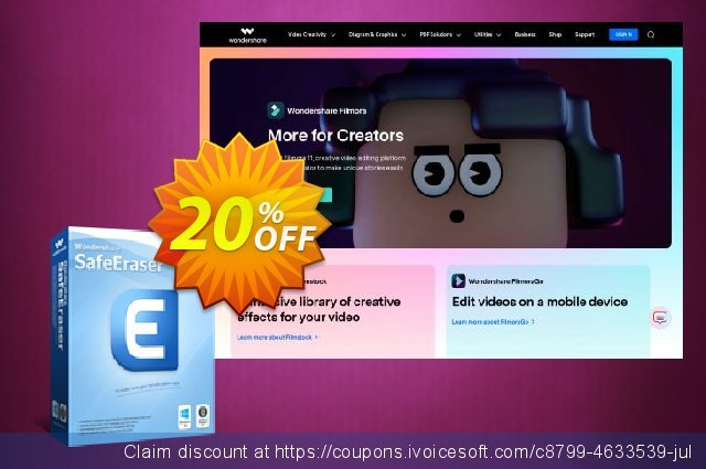 Wondershare SafeEraser (Business License) discount 30% OFF, 2020 Back to School event promo sales