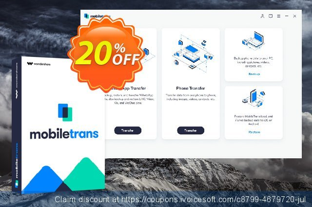Wondershare MobileTrans for Mac - Business License discount 30% OFF, 2019 Working Day offering sales