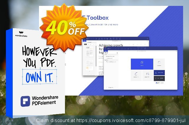 PDFelement Pro Document Cloud Quarterly discount 40% OFF, 2021 New Year offering sales