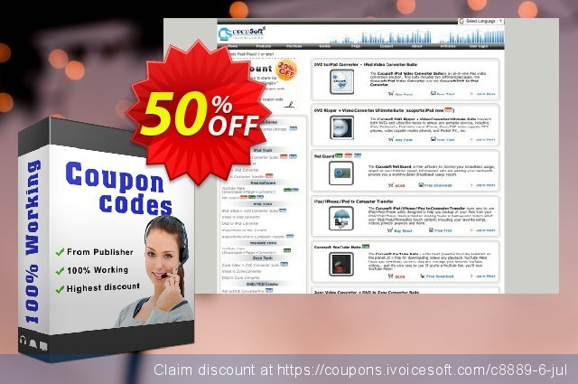 Cucusoft DVD to iPod Converter discount 50% OFF, 2020 Fourth of July sales
