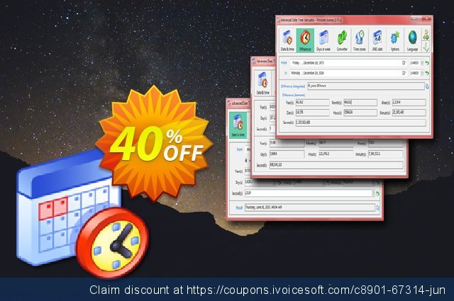 Advanced Date Time Calculator Single License discount 40% OFF, 2021 National Family Day offering sales. 40% OFF Advanced Date Time Calculator Single License, verified