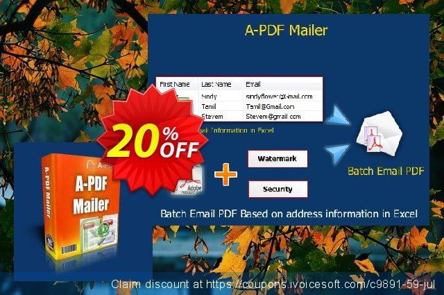 A-PDF Mailer discount 20% OFF, 2020 July 4th offering sales